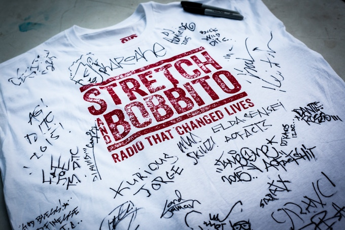 Stretch and Bobbito logo t-shirt signed by Monch, Kool Keith, Brand Nubians, O.C., Mad Skillz, Kurious, Fat Joe, Lord Finesse, Showbiz & AG and other 89tec9 25th Anniversary @ Central Park performers