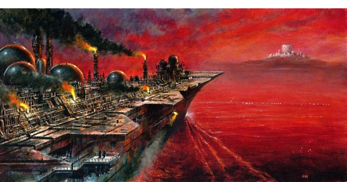 """30""""x15"""" Painting by Les Edwards based on new novella Acheron by Jeffrey Thomas in I AM THE ABYSS"""