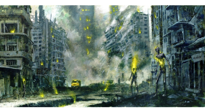 """30""""x15"""" Painting by Les Edwards based on new novella Torn by Steve Rasnic Tem within I AM THE ABYSS"""