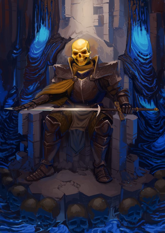 Dryhten, the bound god, sits on his throne in Grimwinter Fortress.  Do you dare challenge him?