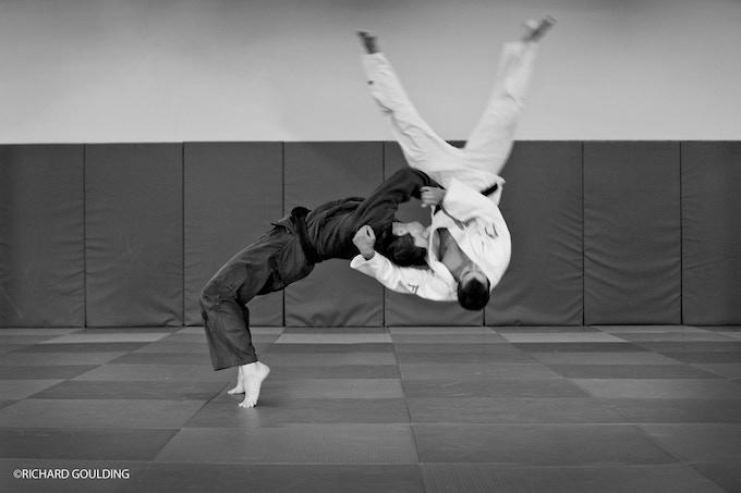 BEAUTIFUL JUDO: Euan Burton throws Patrick Dawson Ura-nage, photographed at Ratho June 2012.