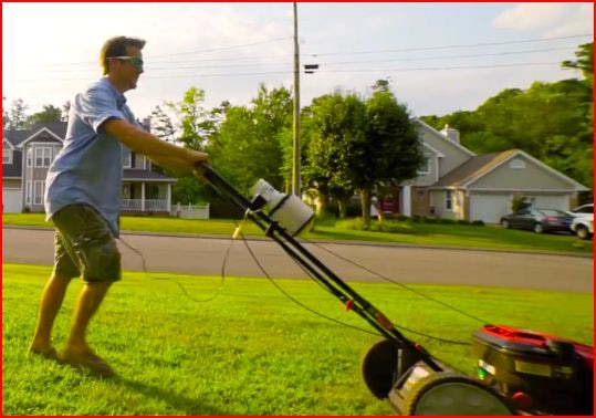 Notice the blower installed on the rails of this push mower. Installation takes about 5 minutes. In 5 minutes you fix the sweat problem! Everything is white to prevent absorbing heat from the sun.