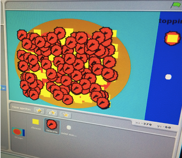 a 10 year olds digital pizza (with a lot of tomatoes) made in under an hour