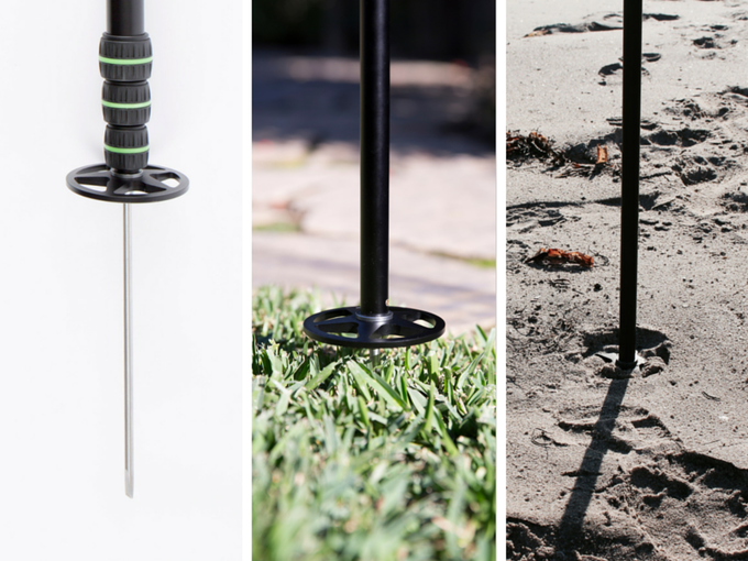 Custom spike attachment is perfect for soft surfaces like grass or sand.