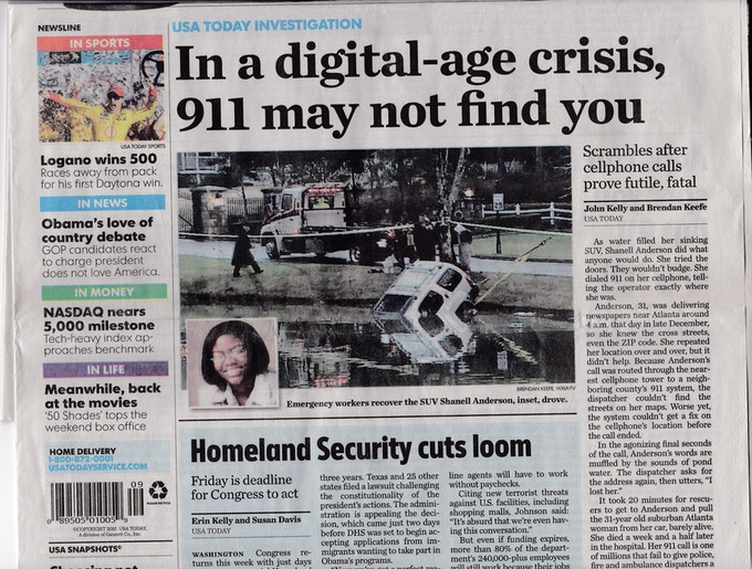 USA Today front page February 22, 2015.  911's deadly flaw: Lack of Location Data