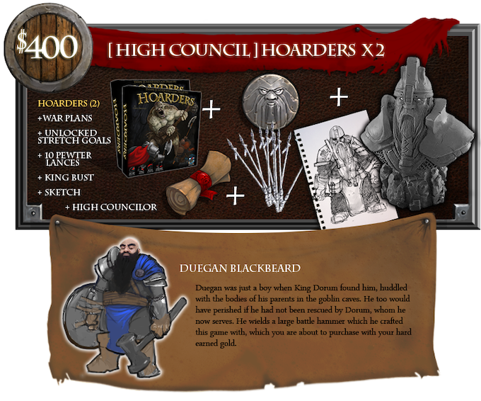 Above is an example of the High Councilor image and text that will go in the Rulebook. All aspects must be approved by RocketSlug Games and fit the Hoarders world.