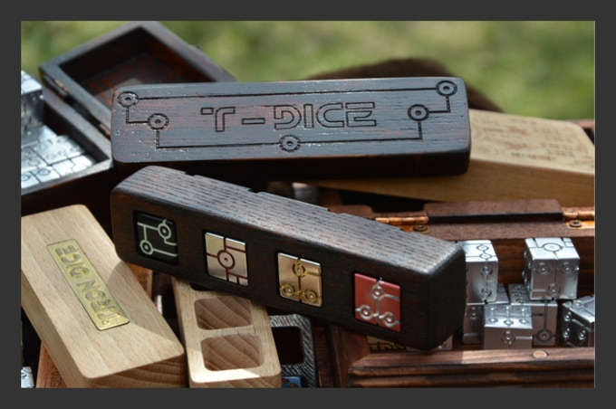 """Photo collage sets. Box of natural bog oak with the effect of an old tree for """"Tron Dice"""""""