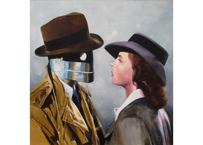 The Constant Man - 1940, Oil painting on cradled wood panel 10x10 inches