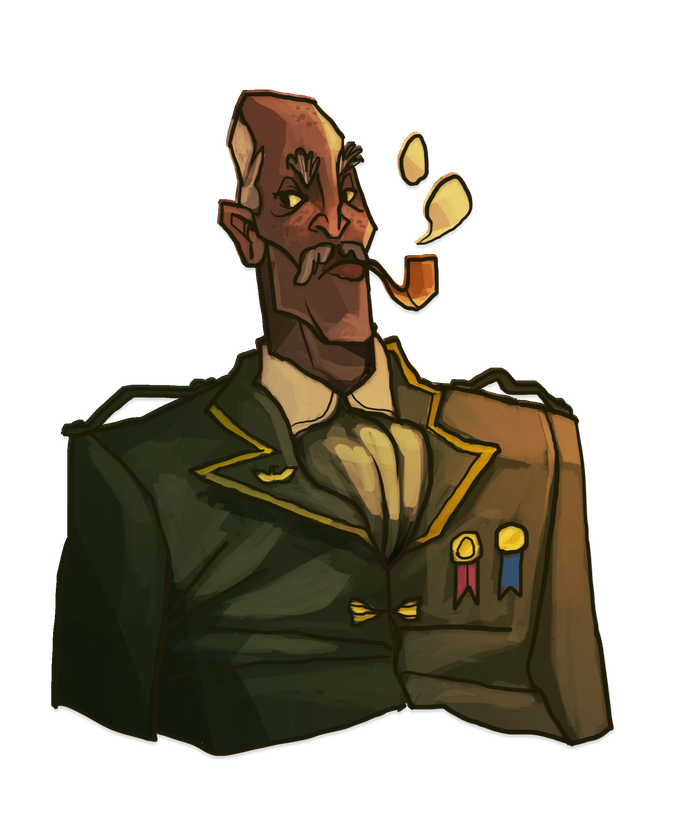 Augustus Ribbins: just one of the Pilots you can recruit. Art by Catherine Unger.