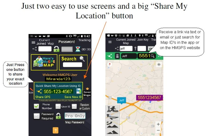HMGPS has only two main screens so it's easy to use. The Home Screen has easy follow verbal instructions and one big Quick Share button. The map screen shows all user tags mobile positions