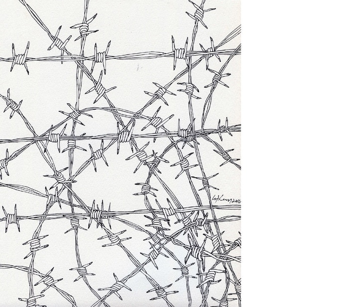 B (Sinhala) Barbed Wire, Chandraguptha Thenuwara, ink on paper, 2015