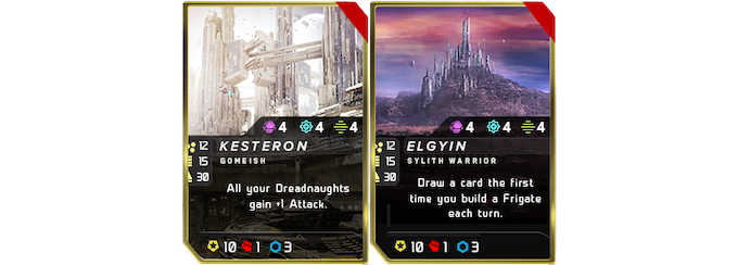 Coalition and Sylith Core Worlds from the in-game demo decks