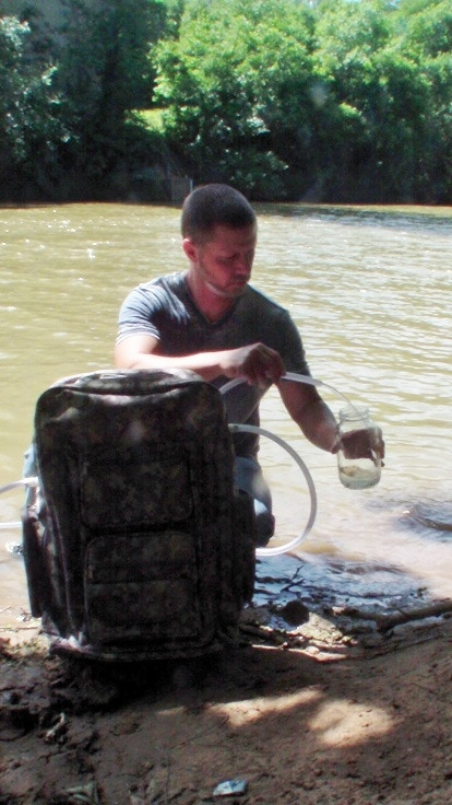Water collection at a remote river location