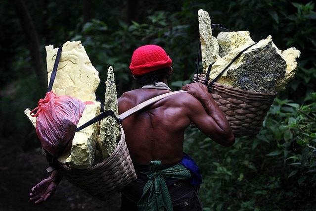 The miner carries twice his bodyweight. All of this backbreaking work is just to feed his family.