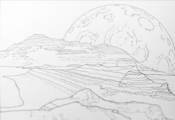Legendary Landscapes Inking In Progress Voyage To Another Planet