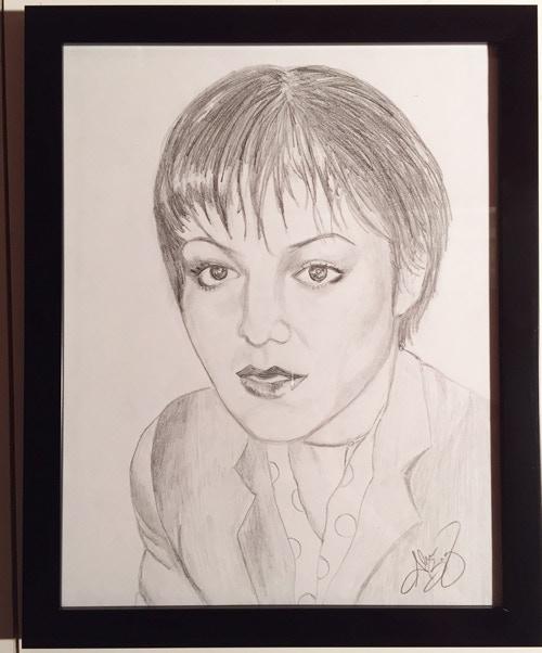 Margo Go-Go, framed pencil sketch