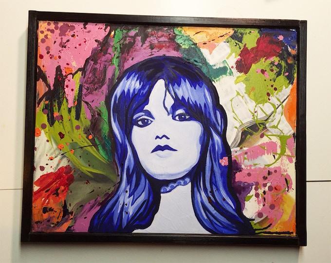 "Mary Bat Thing (Dinah Cancer), oil on canvas 21"" x 17"", framed"