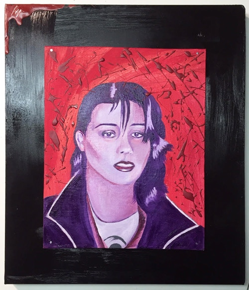 Kira, oil on canvas board, wood block mount