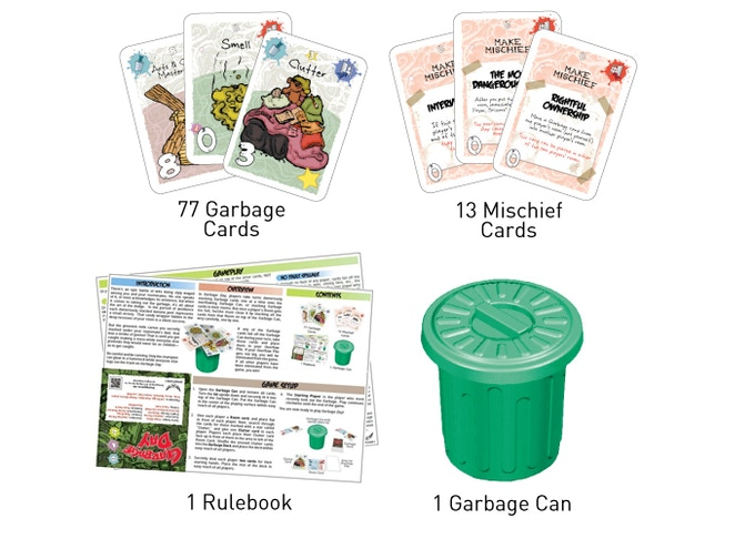 90 Cards + Rules + Garbage Can