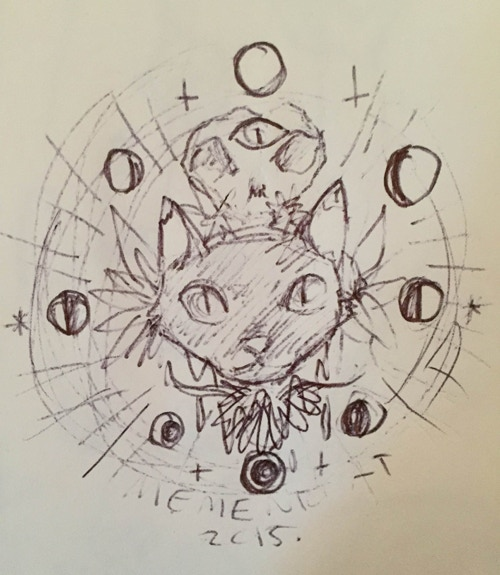 A sketch for a Memento Cat design.