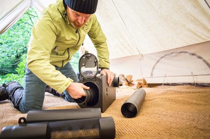 Pull out the flue sections to install in your tent, shed or tiny house