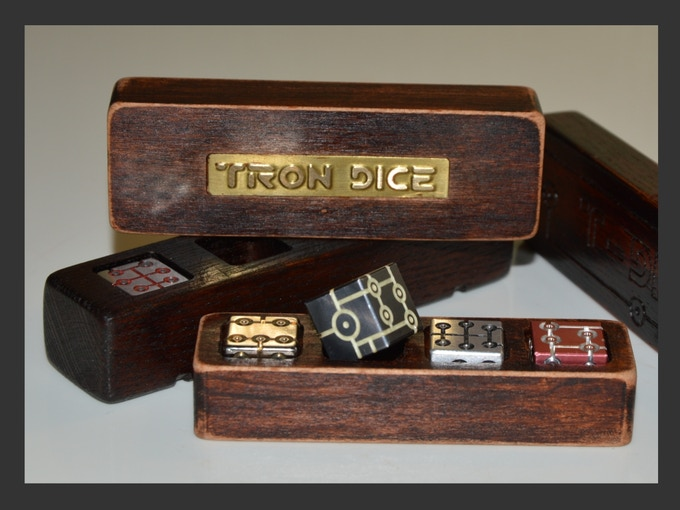 """The box is made of natural beech bog with the effect of an old tree for """"Tron Dice"""" and stylish metal plate with large letters treated with laser cutter"""