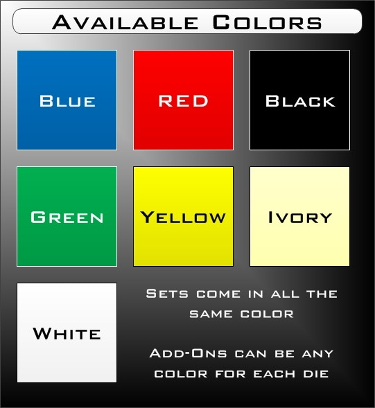 Die color indicates the color of the die. Text color indicates the color of the graphics.