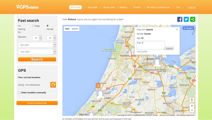 Search and chat through the GPS map