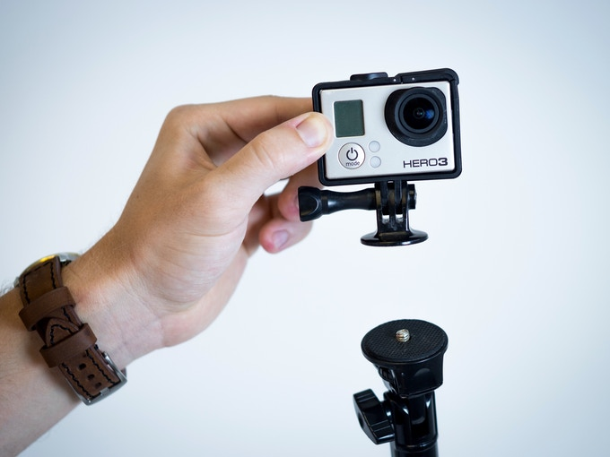 The MonoShot can fit any standard 1/4 tripod attachment, like this GoPro mount included in one of our pledge levels.