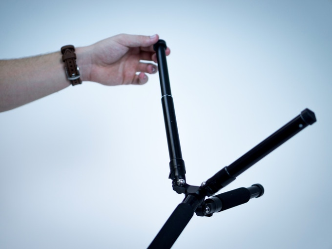 Mini tripod legs extend for maximum height with the monopod attached.