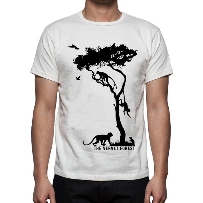 The t-shirt comes in your choice of black or white.