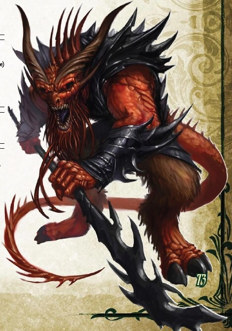 This seething devil deftly wields a vicious, saw-toothed glaive, while below its toothy maw writhes a hideous, twitching beard.