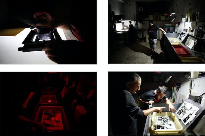 Gianni Romano and I in a darkroom session at Studio Fahrenheit