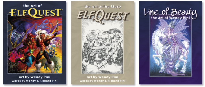 Three books featuring over 900 pages of art and story by Wendy Pini!