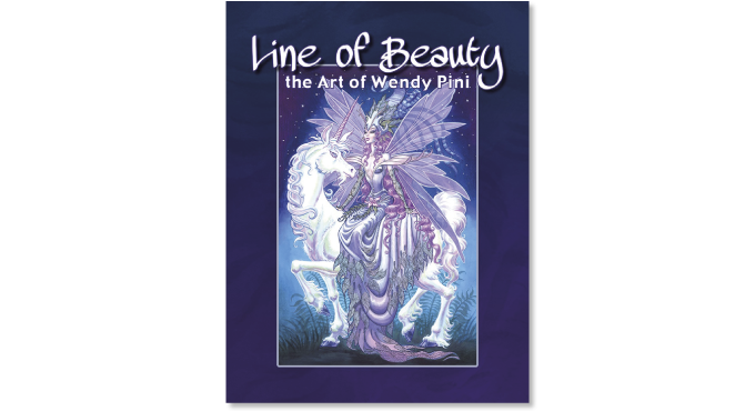 """""""Line of Beauty: The Art of Wendy Pini"""" trade edition cover"""