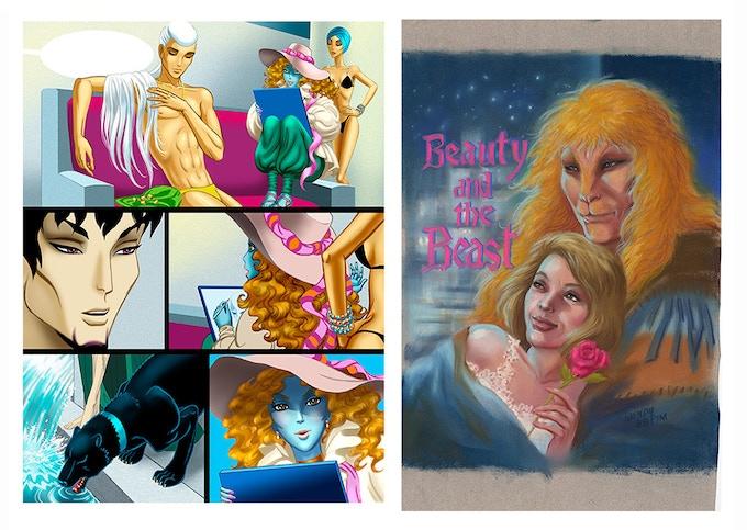 """Line of Beauty: The Art of Wendy Pini"" interior sample art"