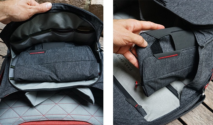 Stowe The Field Pouch in the main and front compartments of The Everyday Messenger.
