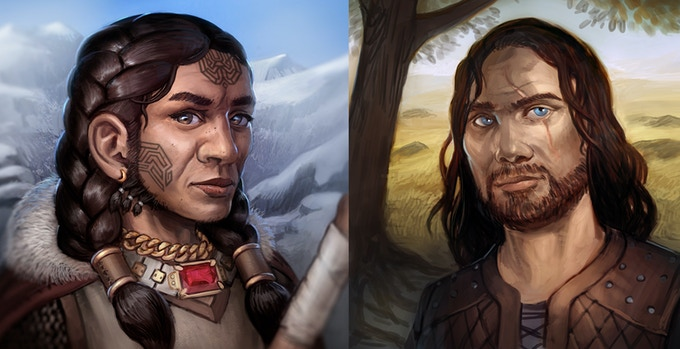 Racial Character Portraits (Dwarf F/ Human M )