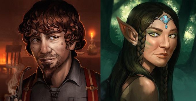 Racial Character Portraits ( Halfling M / Elf F )