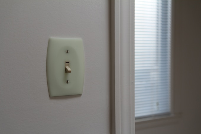 GlowaSwitch charges in natural daylight or artificial room light