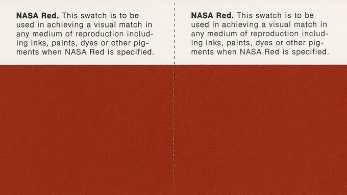 Detail of page 2.14, NASA Red: Color Swatches.