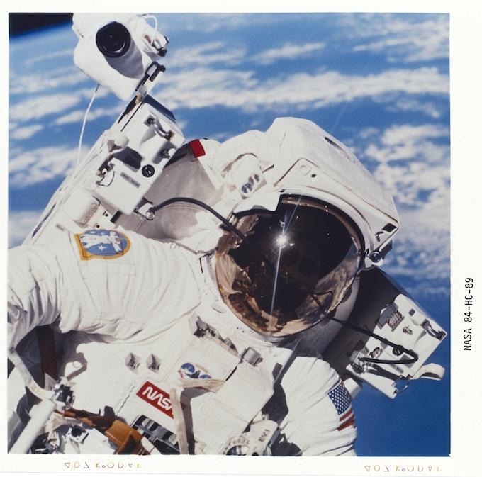 7 February 1984. JOHNSON SPACE CENTER, HOUSTON, TX.  41-B ONBOARD SCENE OF EVA — The helmet visor of Astronaut Bruce McCandless II, 41-B mission specialist. Photo: NASA.