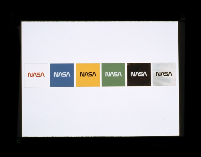 Original presentation to NASA by Danne & Blackburn: Demonstrating how the proposed logo would read on various background colors.