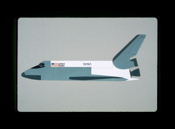 Original presentation to NASA by Danne & Blackburn: The proposed logo applied to the Space Shuttle.