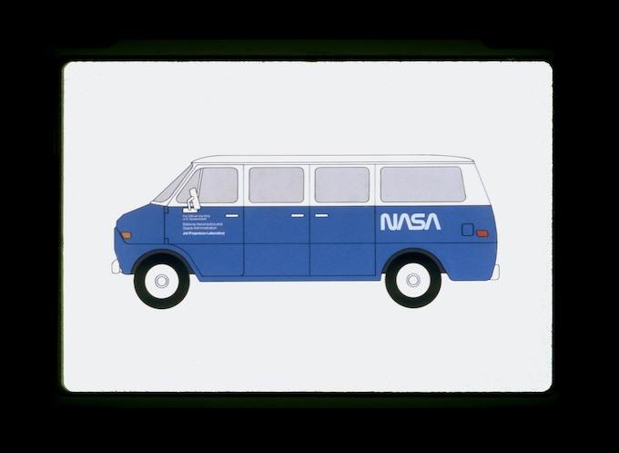 Original presentation to NASA by Danne & Blackburn: The proposed logo applied to a Jet Propulsion Laboratory Van.
