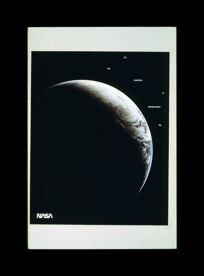 Original presentation to NASA by Danne & Blackburn: A proposed poster, designed to show how the identity might look on printed materials. Concept and copywriting by Danne.