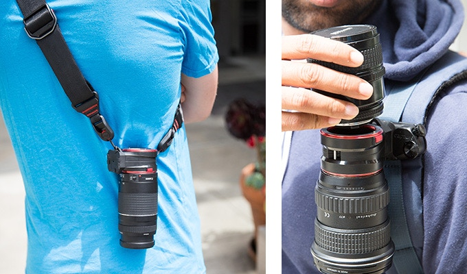 Right: Lens Kit has loops for attaching Peak Design Anchors, letting you sling a spare lens across your body. Left: CaptureLENS works on any belt or strap.