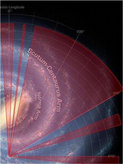 Mopra Southern Galactic Plane CO Survey coverage as at 1 September 2015 (Image credit: NASA/JPL-Caltech/ESO/R. Hurt).