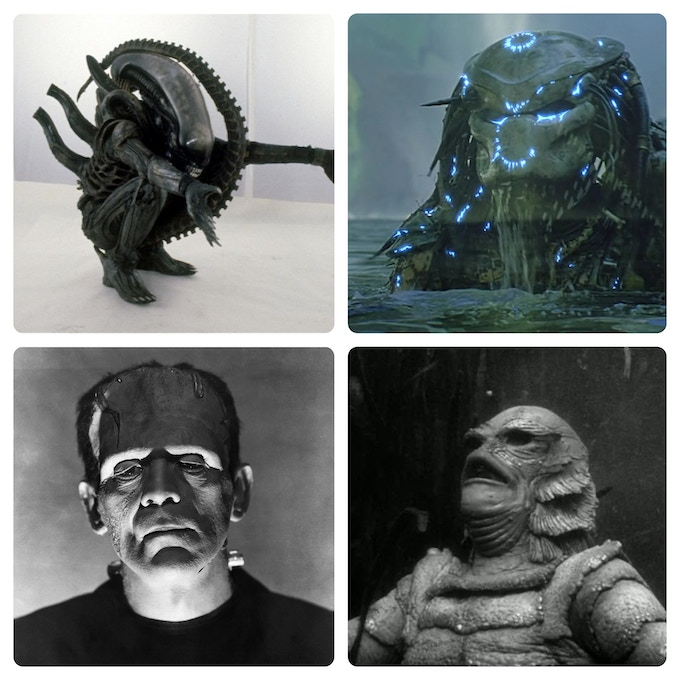 Alien, Predator, Frankenstein's Monster, & Creature from The Black Lagoon. True icons. (Rights owned by 20th Cent. Fox; Universal.)