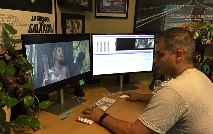 """Eric cutting the trailer for """"Shallow Water""""."""